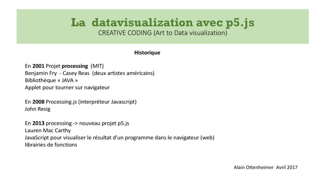 La datavisualization avec p5.js CREATIVE CODING...