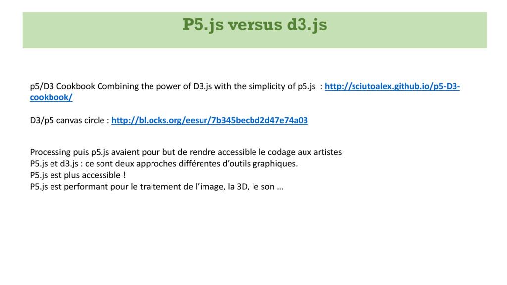 P5.js versus d3.js p5/D3 Cookbook Combining the...