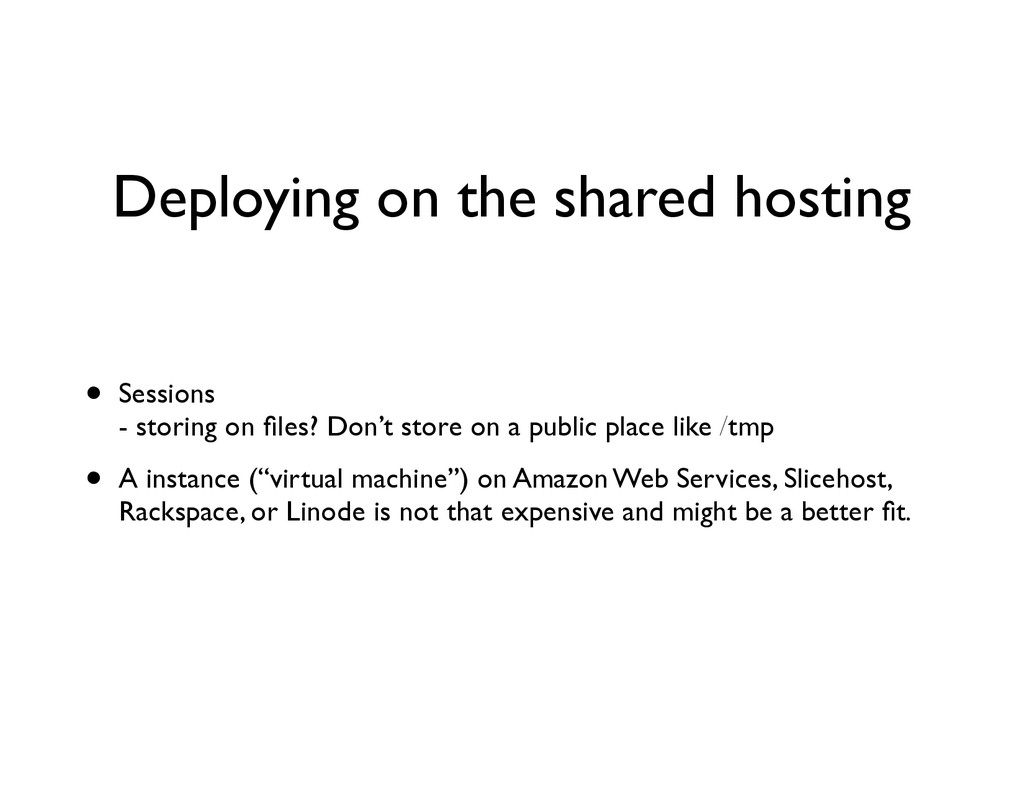Deploying on the shared hosting • Sessions
