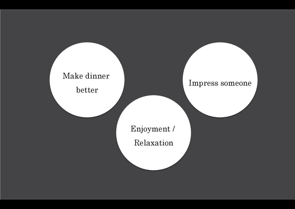 Make dinner better Impress someone Enjoyment / ...