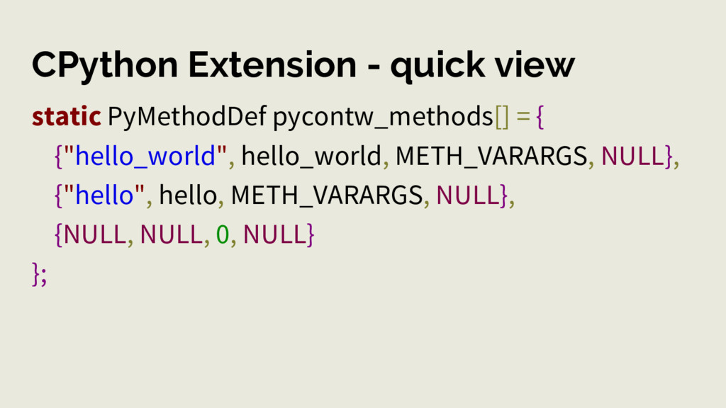 CPython Extension - quick view static PyMethodD...