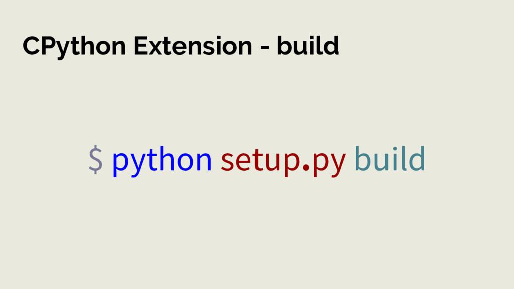 CPython Extension - build $ python setup.py bui...