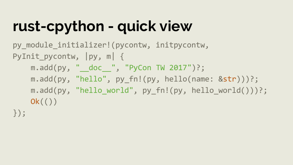rust-cpython - quick view py_module_initializer...