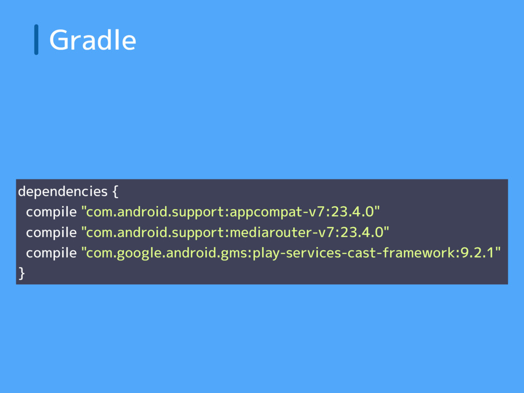 "Gradle dependencies { compile ""com.android.supp..."