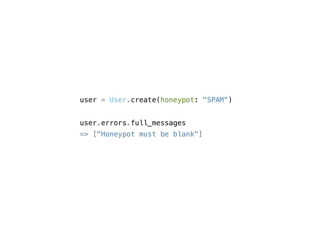 "user = User.create(honeypot: ""SPAM"") user.error..."