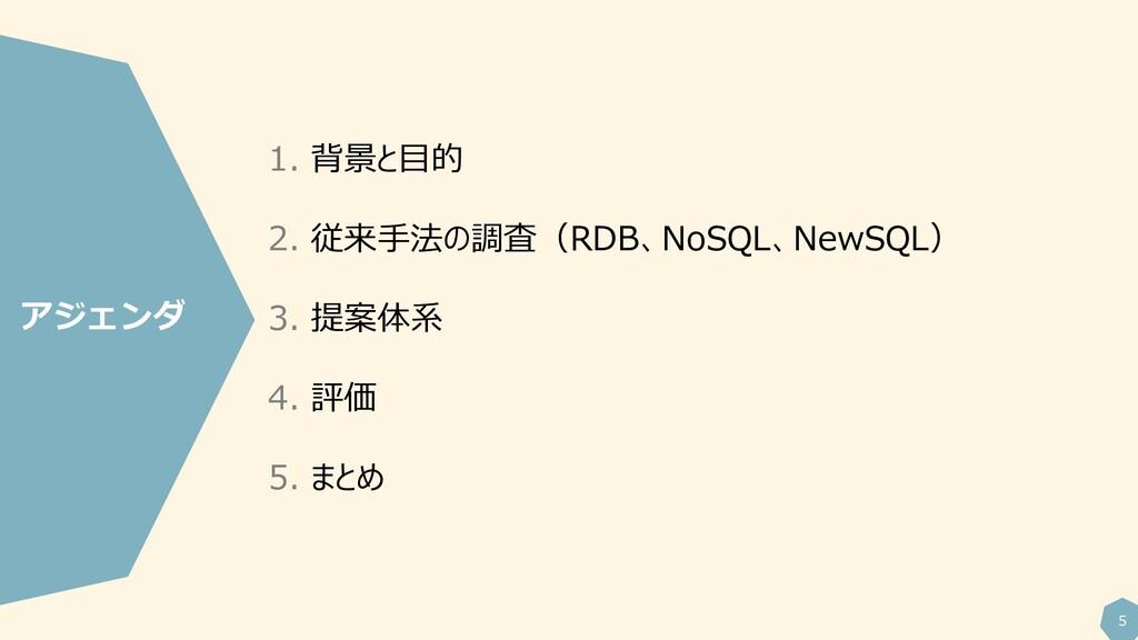 5 1. 背景と目的 2. 従来手法の調査(RDB、NoSQL、NewSQL) 3. 提案体系...