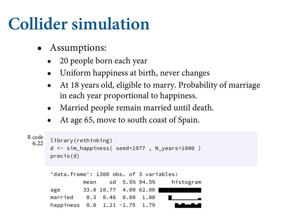 Collider simulation • Assumptions: • 20 people ...