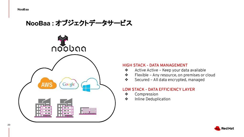 23 NooBaa NooBaa : オブジェクトデータサービス HIGH STACK - D...