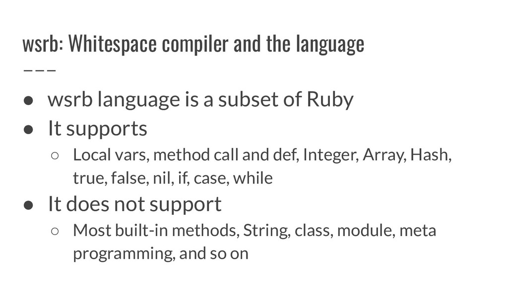 wsrb: Whitespace compiler and the language ● ws...