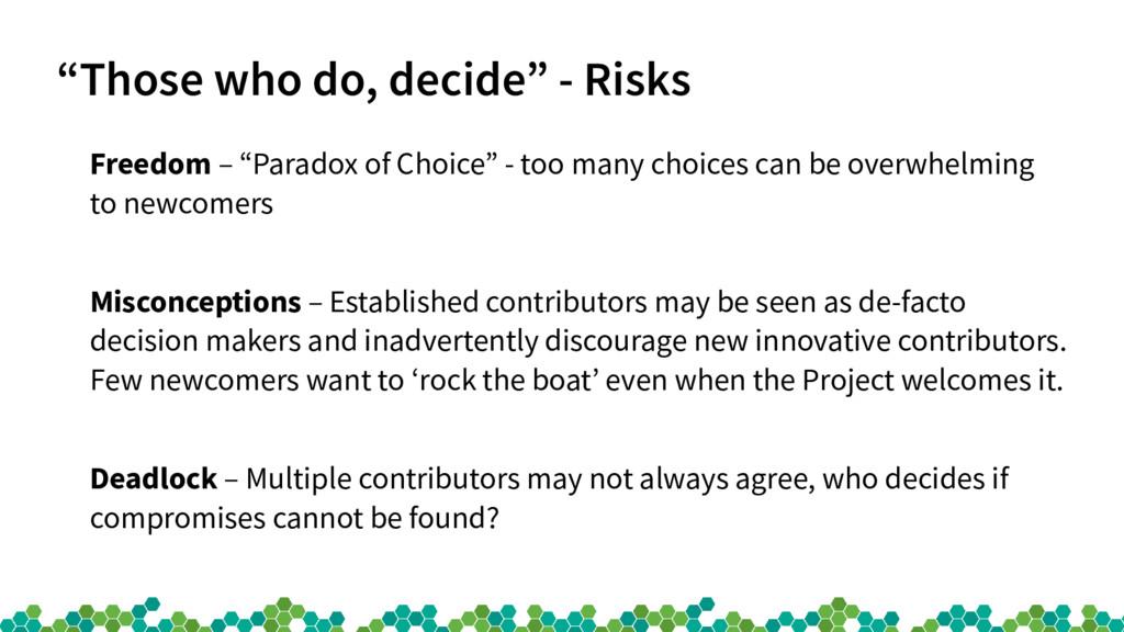 """""""Those who do, decide"""" - Risks Freedom – """"Parad..."""