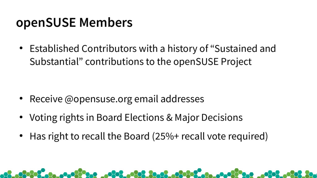 openSUSE Members ● Established Contributors wit...