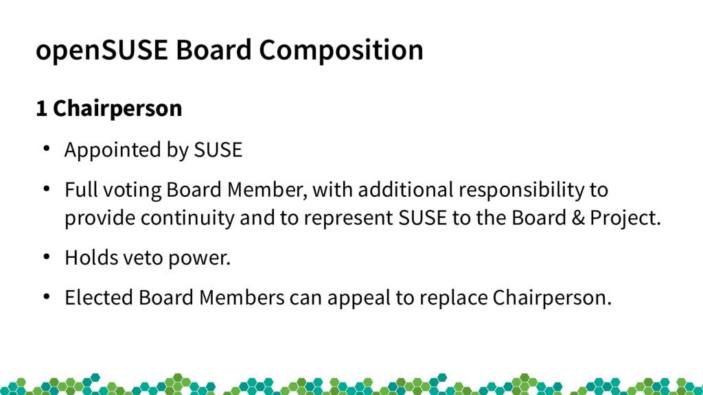 openSUSE Board Composition 1 Chairperson ● Appo...