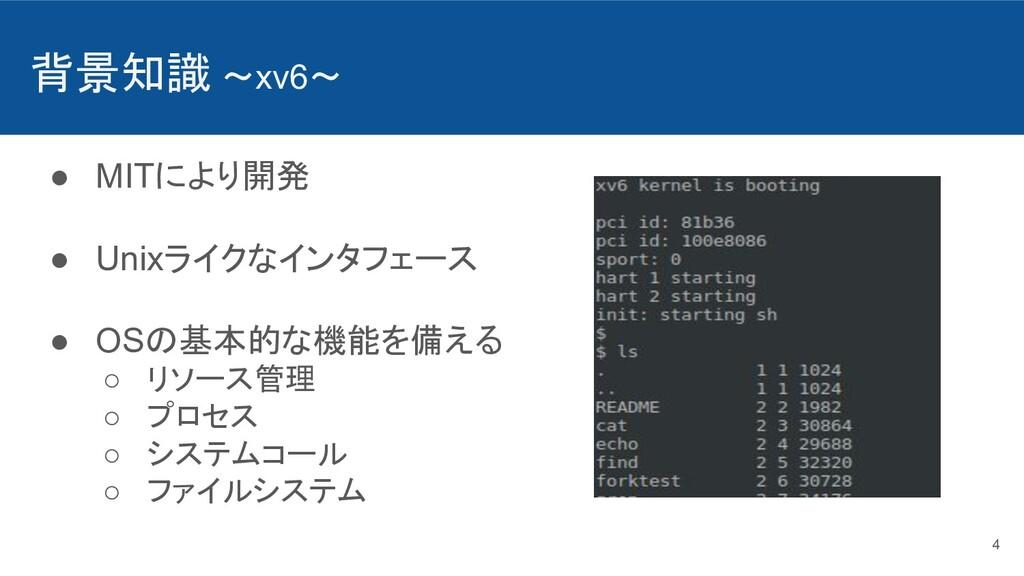 背景知識 〜xv6〜 ● MITにより開発 ● Unixライクなインタフェース ● OSの基本...
