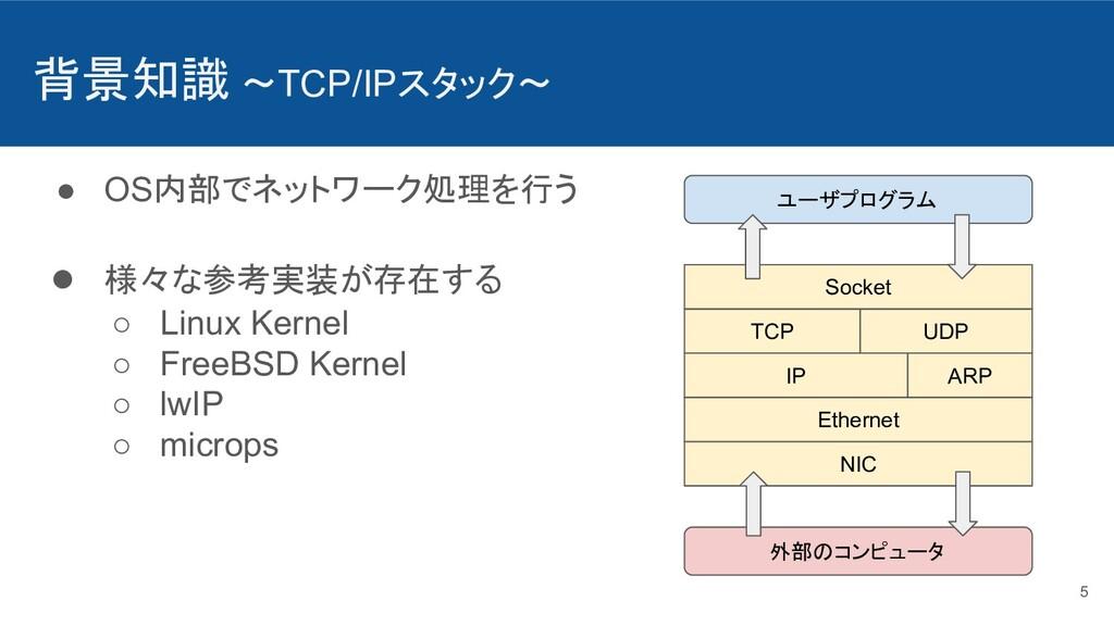 背景知識 〜TCP/IPスタック〜 ● OS内部でネットワーク処理を行う ● 様々な参考実装が...