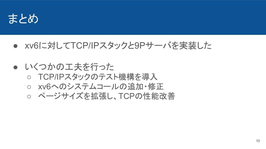 まとめ ● xv6に対してTCP/IPスタックと9Pサーバを実装した ● いくつかの工夫を行っ...