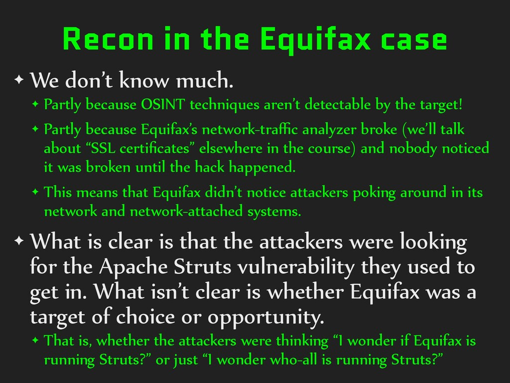 Recon in the Equifax case ✦ We don't know much....