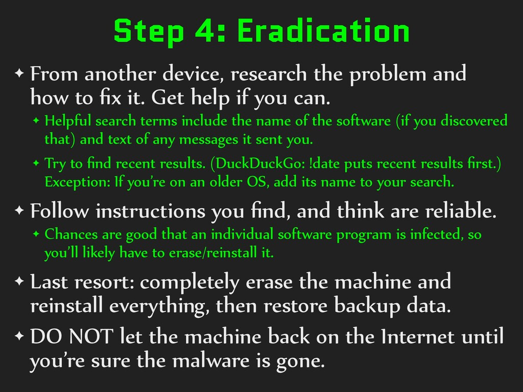 Step 4: Eradication ✦ From another device, rese...