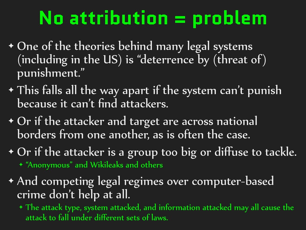No attribution = problem ✦ One of the theories ...