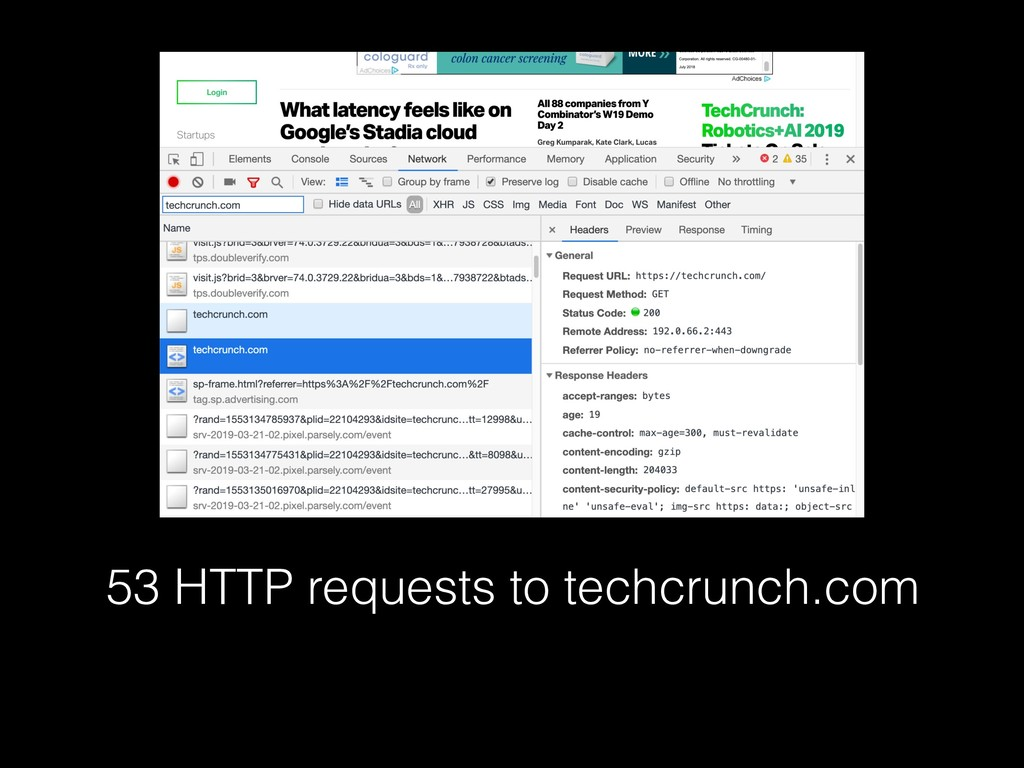 53 HTTP requests to techcrunch.com