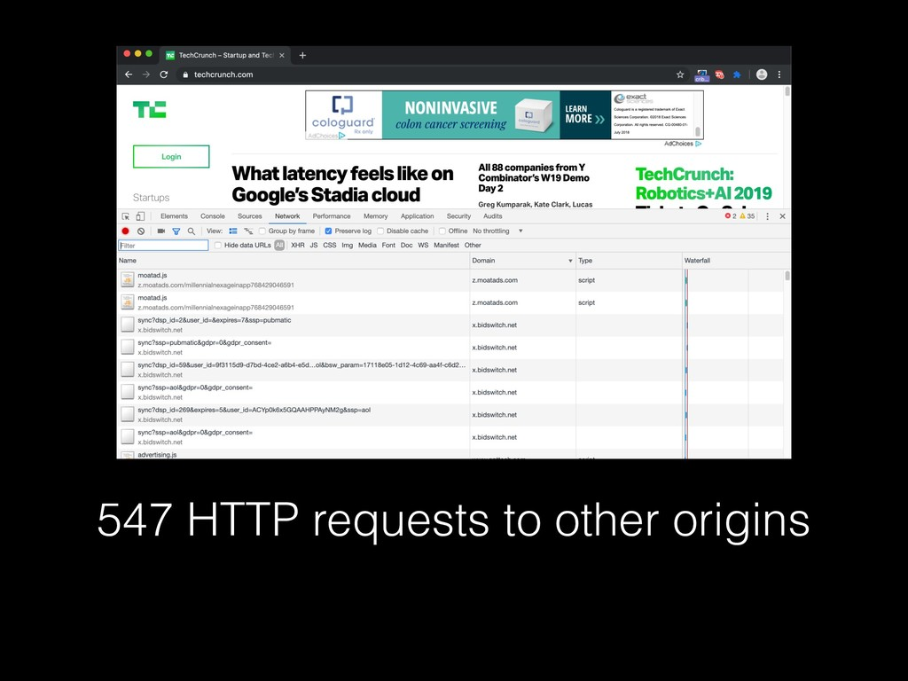 547 HTTP requests to other origins