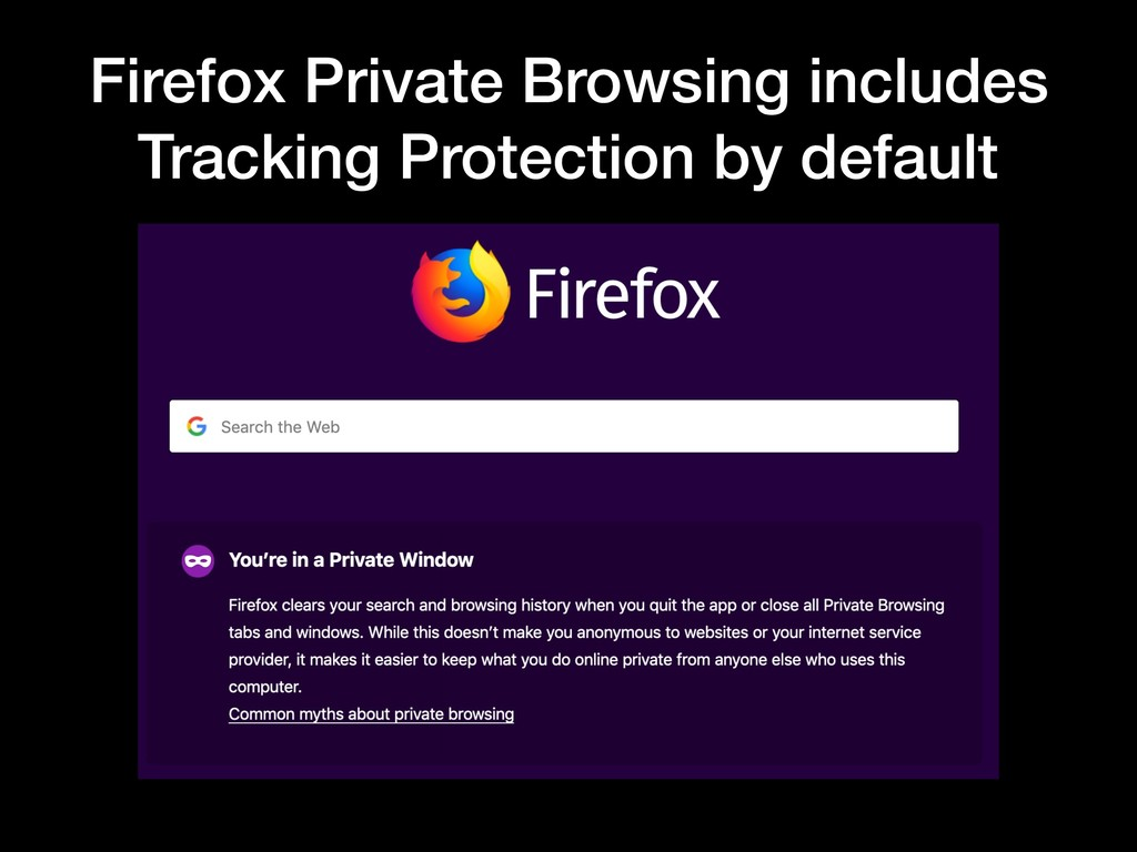 Firefox Private Browsing includes Tracking Prot...