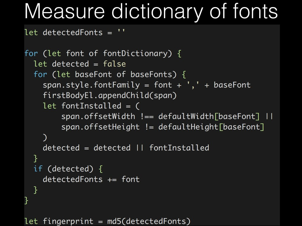 Measure dictionary of fonts