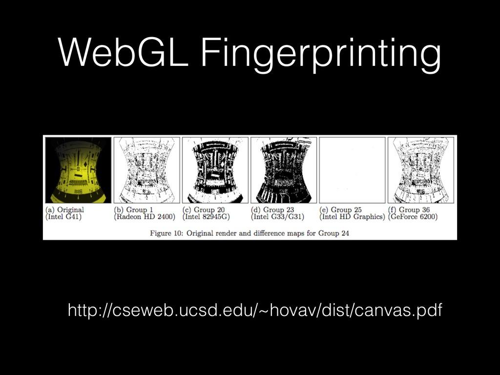 WebGL Fingerprinting http://cseweb.ucsd.edu/~ho...