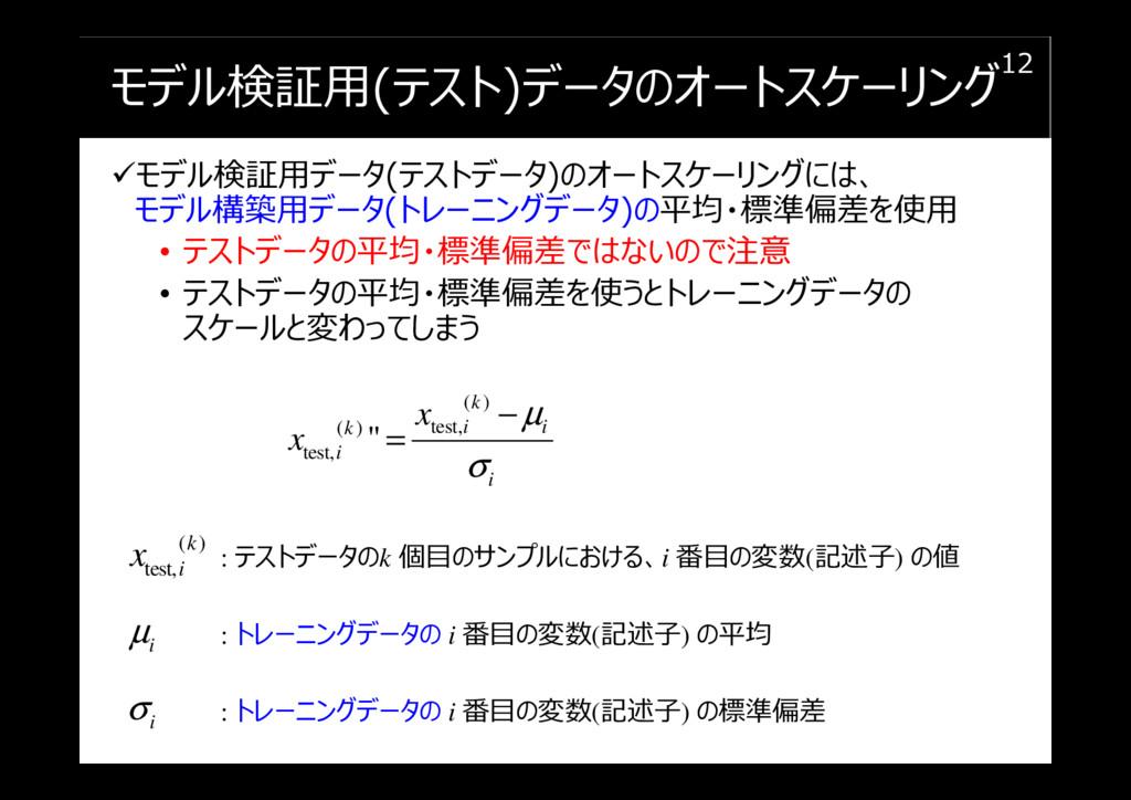 モデル検証用(テスト)データのオートスケーリング モデル検証用データ(テストデータ)のオートス...