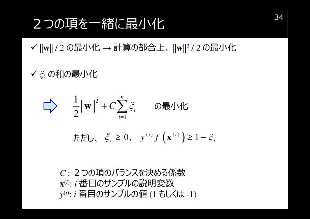 2つの項を⼀緒に最⼩化 ||w|| / 2 の最⼩化 → 計算の都合上、 ||w||2 / 2...