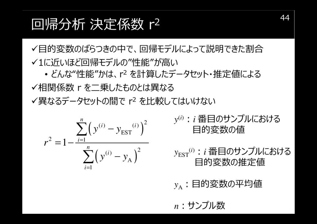 回帰分析 決定係数 r2 目的変数のばらつきの中で、回帰モデルによって説明できた割合 1に近い...
