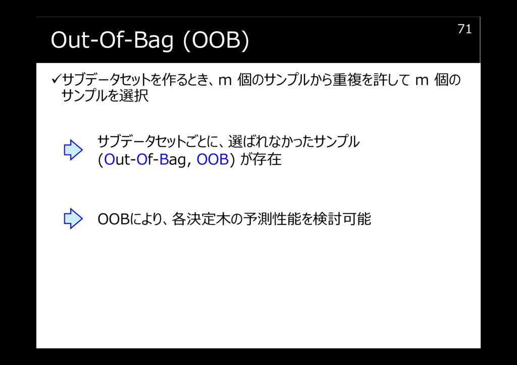 Out-Of-Bag (OOB) サブデータセットを作るとき、m 個のサンプルから重複を許して...
