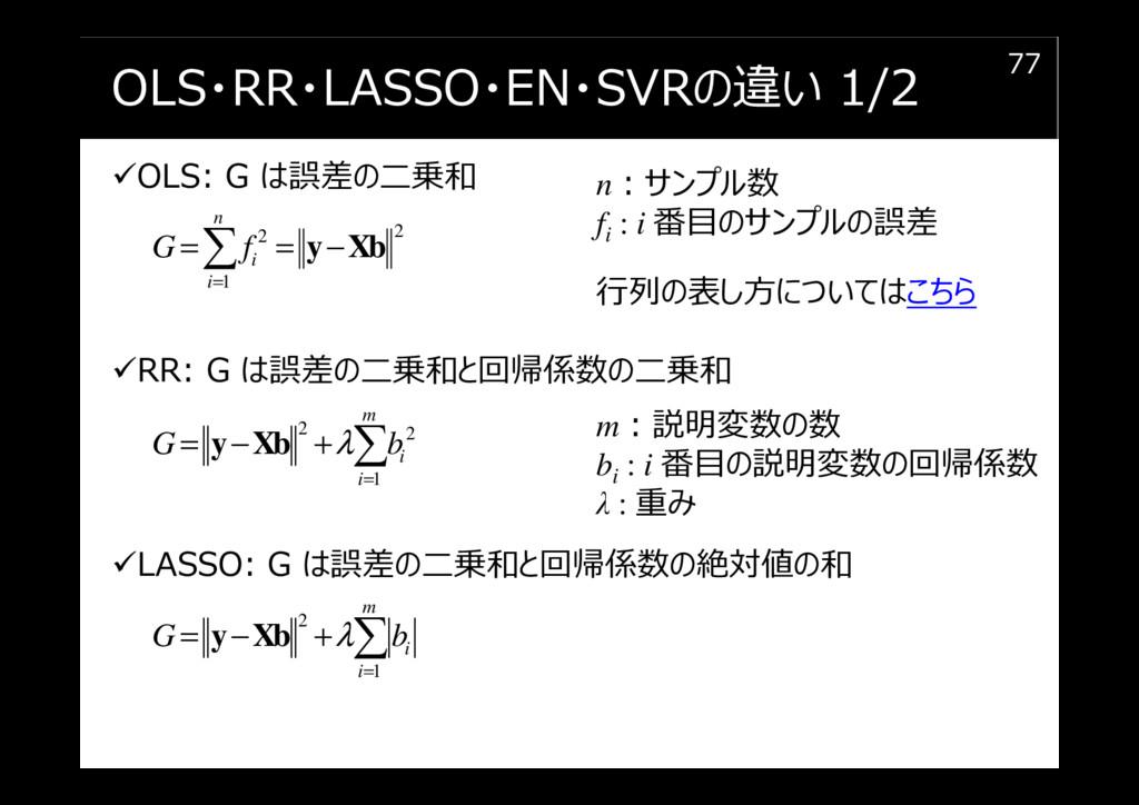 OLS・RR・LASSO・EN・SVRの違い 1/2 OLS: G は誤差の二乗和 RR: G...