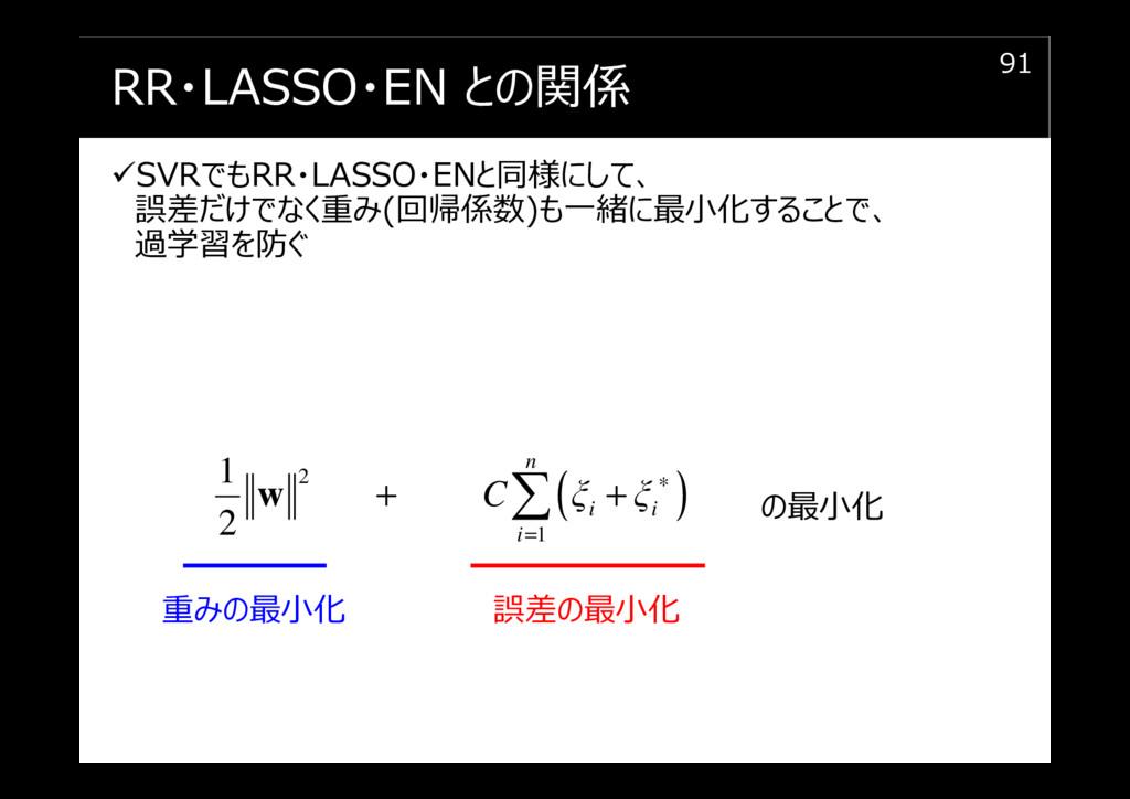 RR・LASSO・EN との関係 SVRでもRR・LASSO・ENと同様にして、 誤差だけでな...