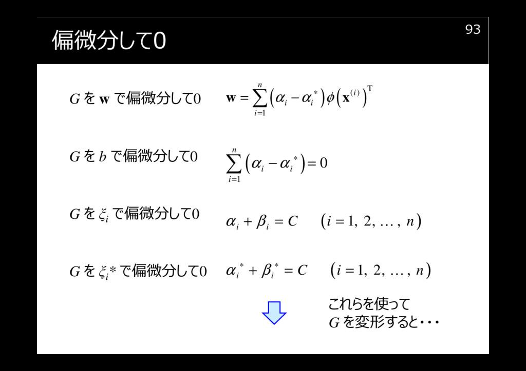 偏微分して0 93 ( ) ( )T ( ) 1 n i i i i α α φ ∗ = = ...