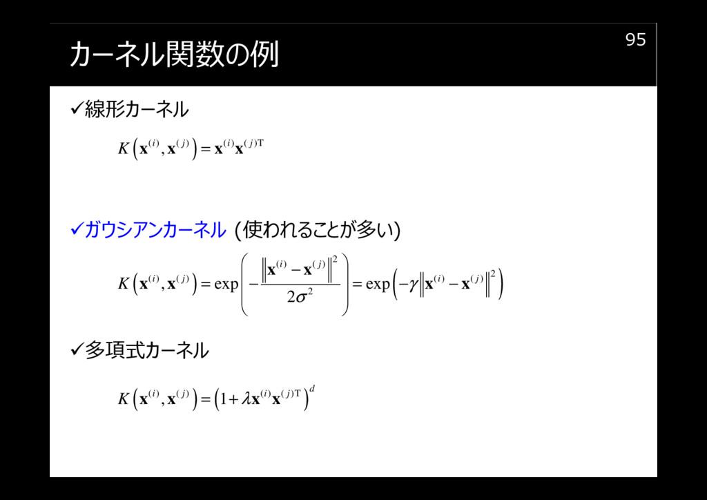 カーネル関数の例 線形カーネル ガウシアンカーネル (使われることが多い) 多項式カーネル 9...