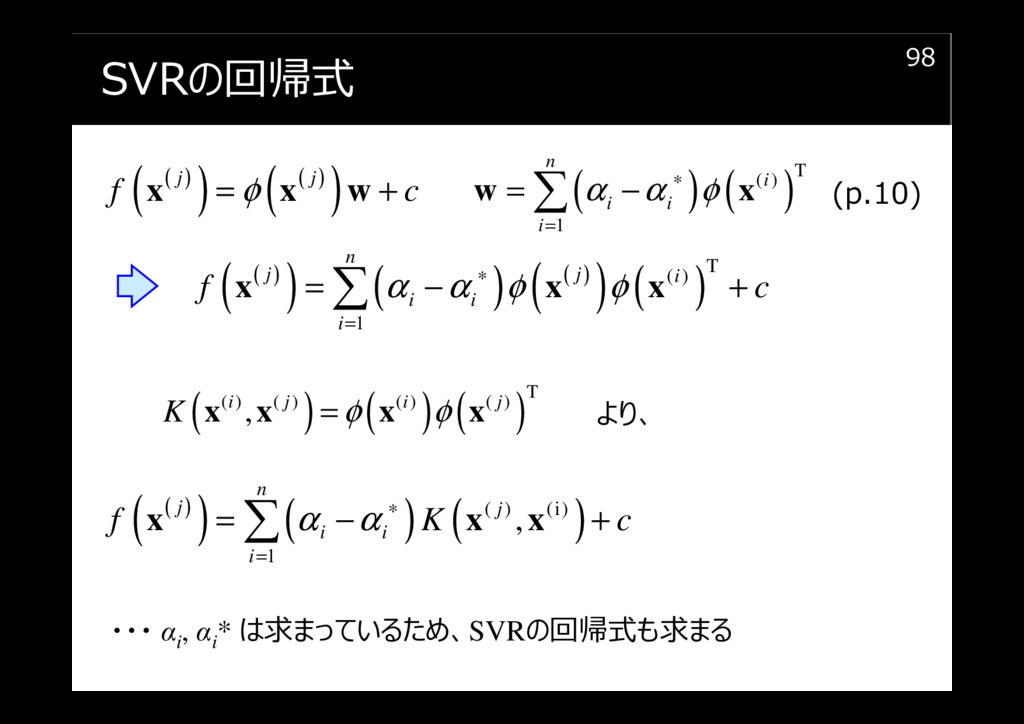 SVRの回帰式 98 ( ) ( ) ( ) ( ) j j f c φ = + x x w ...
