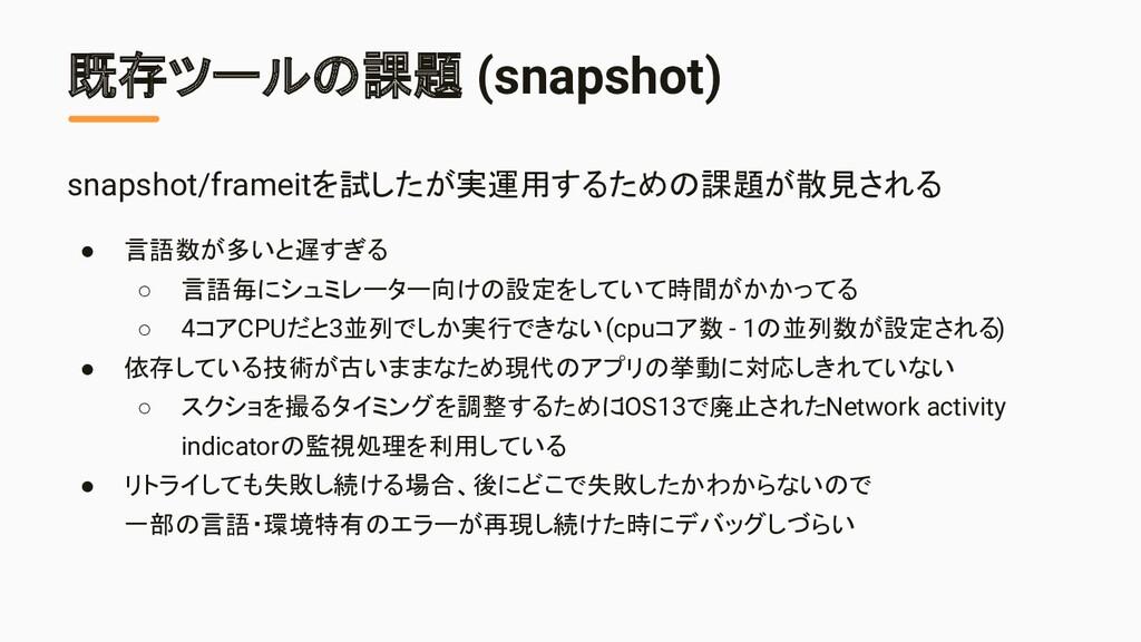 既存ツールの課題 (snapshot) snapshot/frameitを試したが実運用するた...