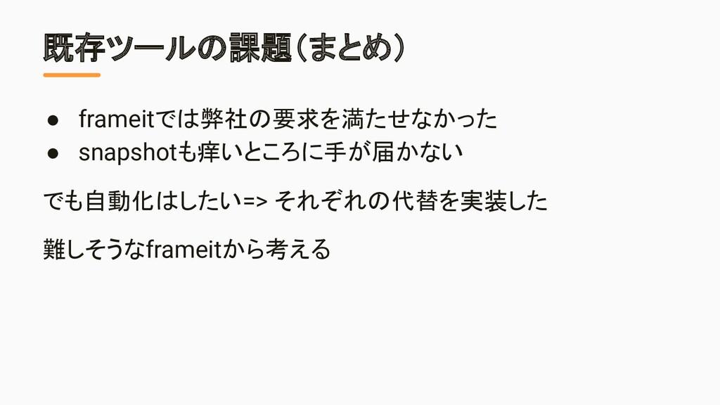 既存ツールの課題(まとめ) ● frameitでは弊社の要求を満たせなかった ● snapsh...