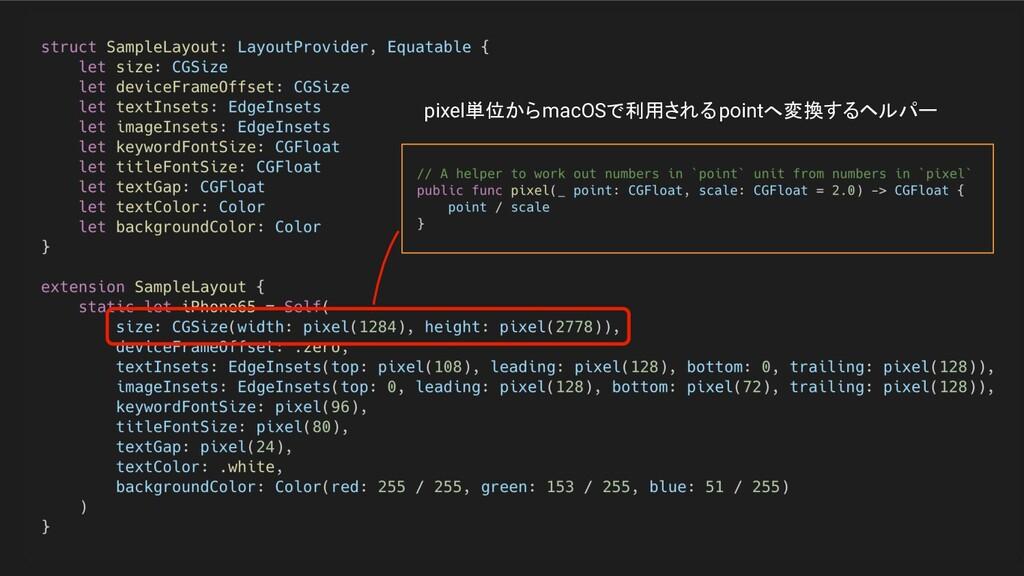 pixel単位からmacOSで利用されるpointへ変換するヘルパー