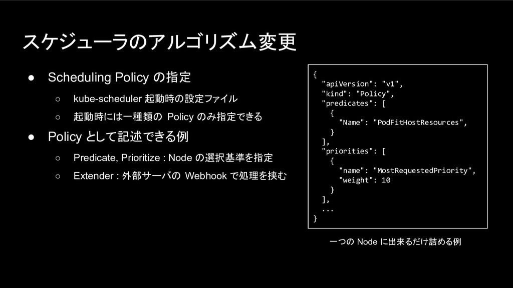 スケジューラのアルゴリズム変更 ● Scheduling Policy の指定 ○ kube-...