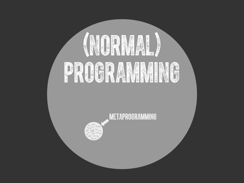 (Normal) PROGRAMMING metaprogramming