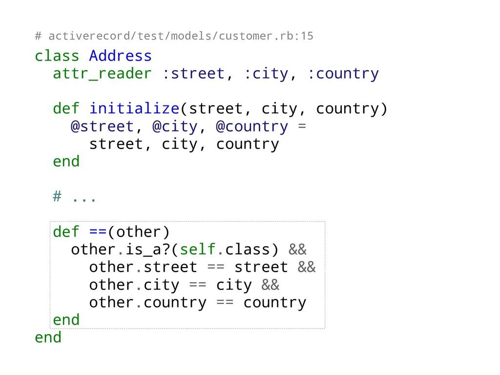 class Address attr_reader :street, :city, :coun...