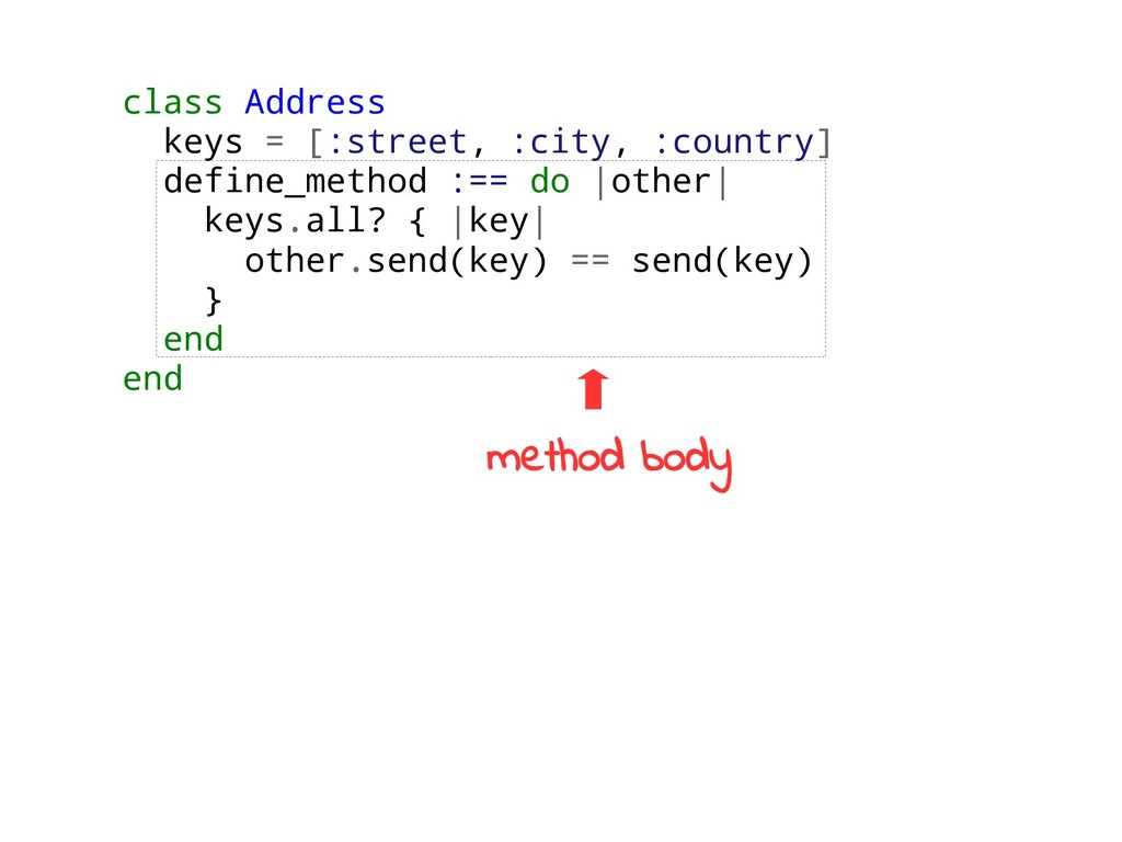 class Address keys = [:street, :city, :country]...