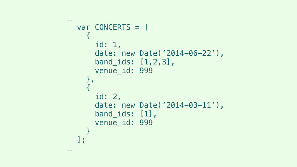 … var CONCERTS = [ { id: 1, date: new Date('201...