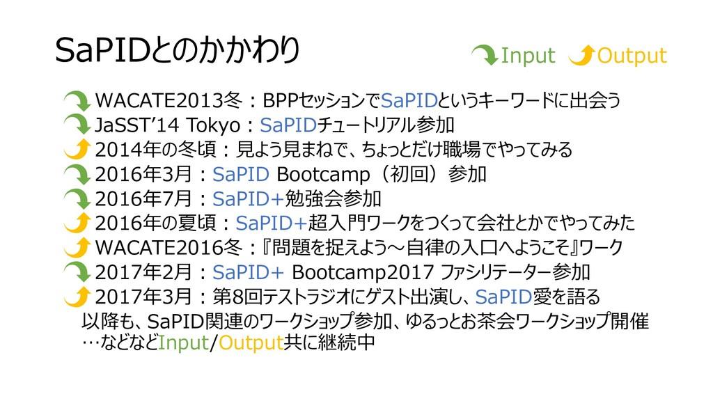 SaPIDとのかかわり • WACATE2013冬:BPPセッションでSaPIDというキーワー...