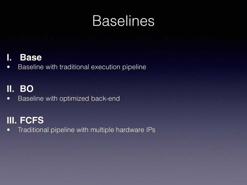Baselines I. Base • Baseline with traditional e...