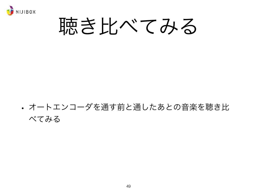 ௌ͖ൺͯΈΔ w ΦʔτΤϯίʔμΛ௨͢લͱ௨ͨ͋͠ͱͷԻָΛௌ͖ൺ ͯΈΔ 49