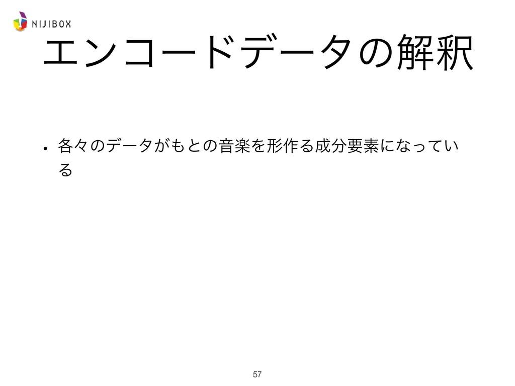 Τϯίʔυσʔλͷղऍ w ֤ʑͷσʔλ͕ͱͷԻָΛܗ࡞Δཁૉʹͳ͍ͬͯ Δ 57