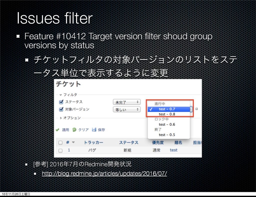 Issues filter Feature #10412 Target version filte...