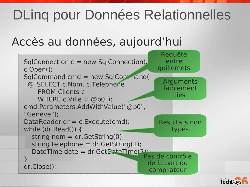 DLinq pour Données Relationnelles SqlConnection...